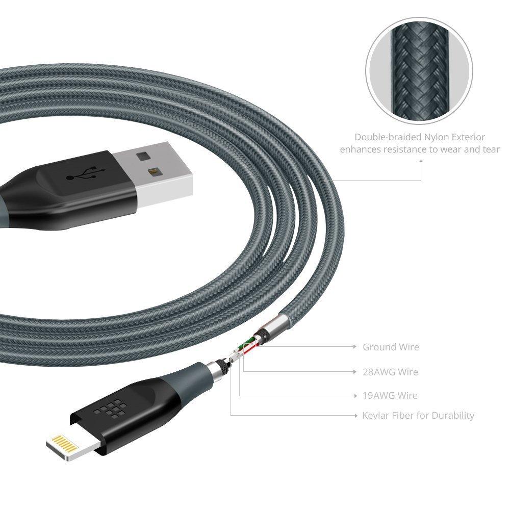 Tronsmart Braided Lightning Cable MFi Certified 10 Ft. Length - Black
