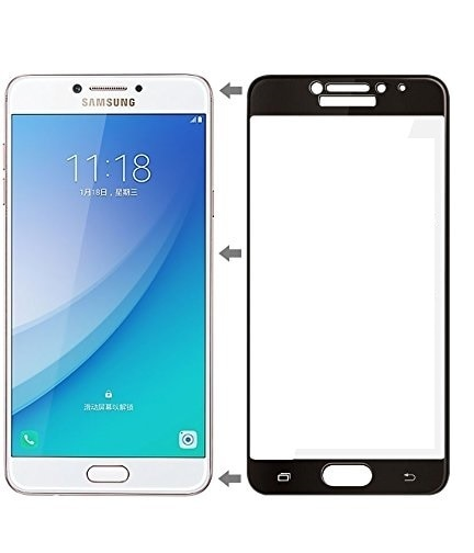 Mocolo Samsung Galaxy C7 Pro Edge to Edge Tempered Glass - Black