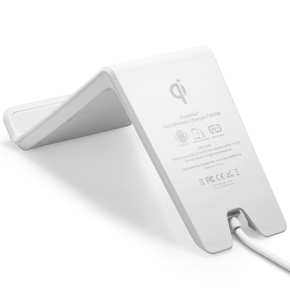 Spigen F303W Wireless Fast Charger for all Qi Certified Devices - White