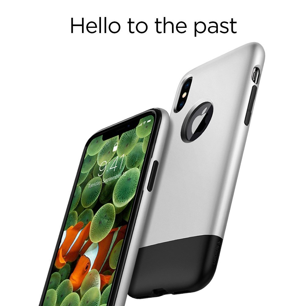 Apple iPhone XS / iPhone X Spigen Classic One with Air Cushion Technology - Aluminium Gray
