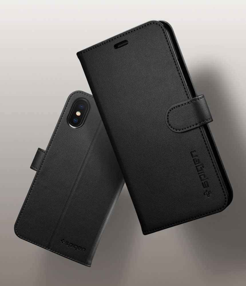 iPhone X Spigen Original Wallet S Flip Cover Case  - Black
