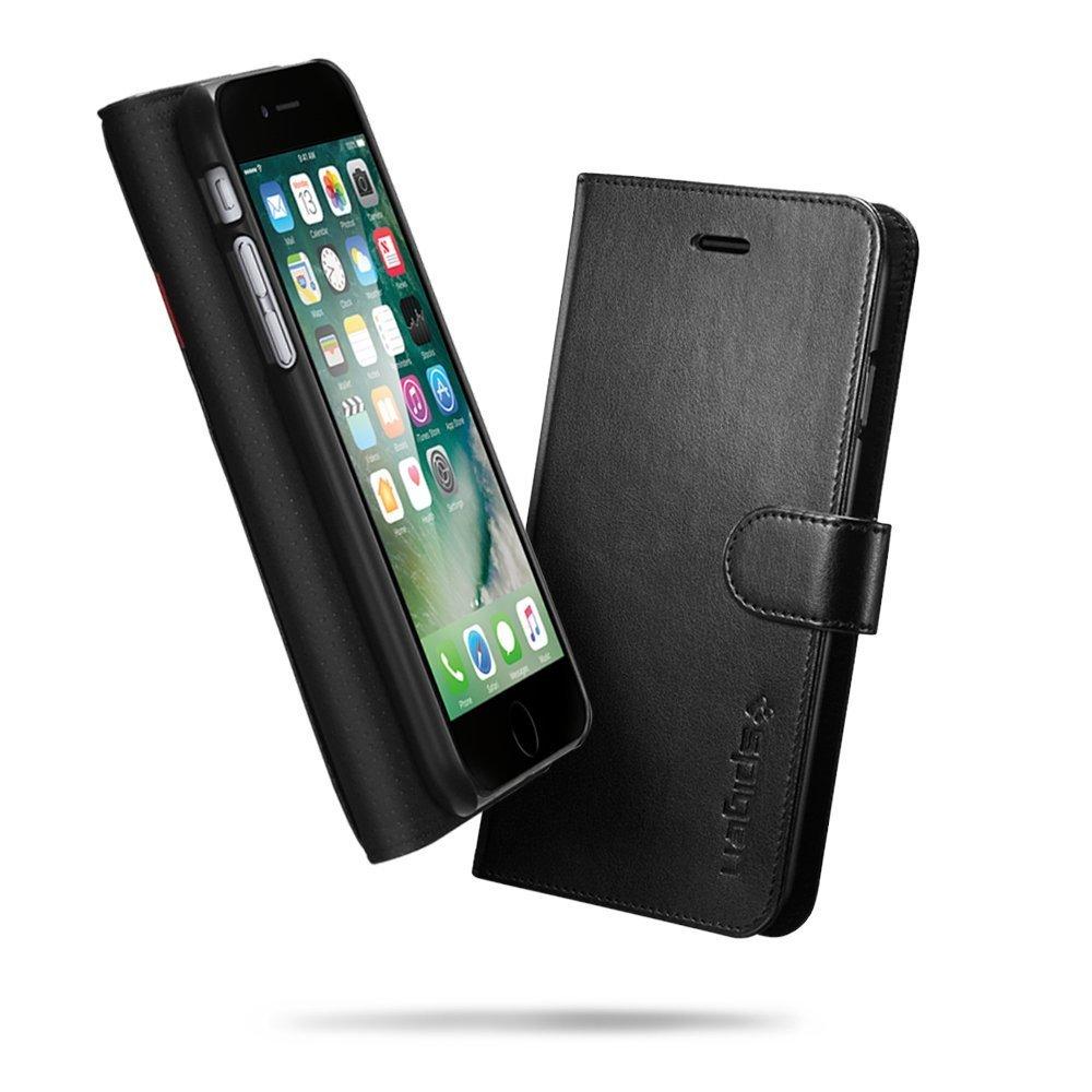 Apple iPhone 7 Spigen Original Wallet S Flip Cover Case  - Black