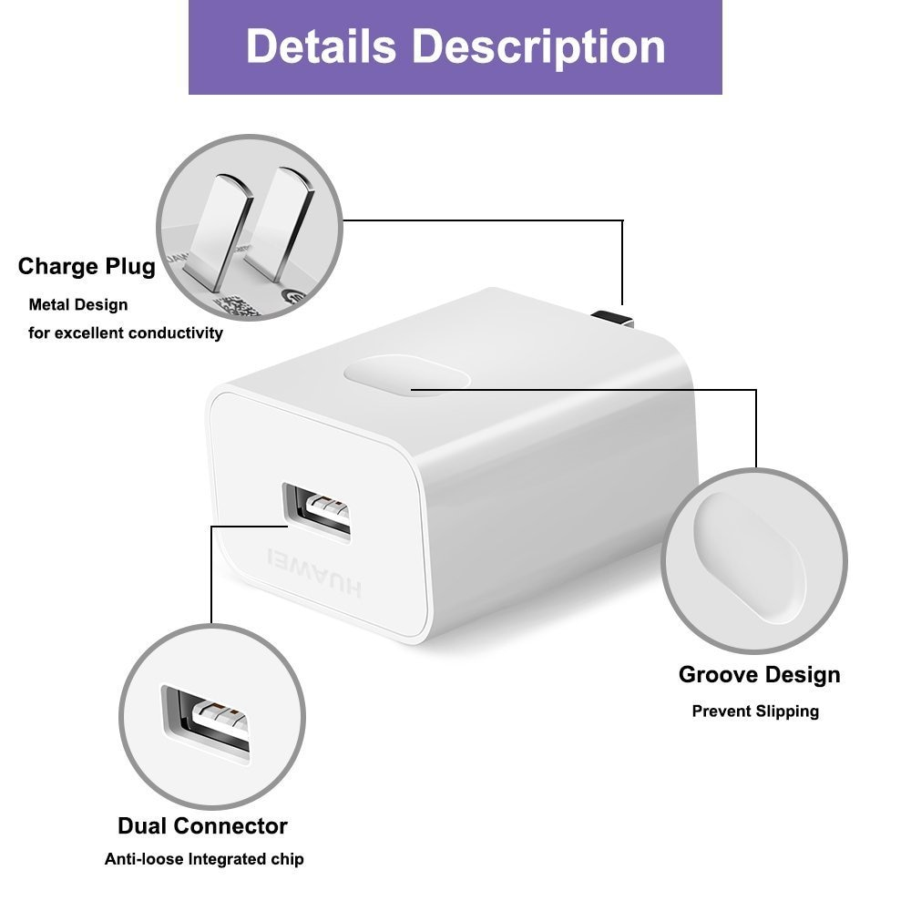 Huawei 5A SuperCharge Power Adapter, 4.5V 5A Huawei Fast Quick Charger with Super Charging USB C Cable(3.3FT) - US Plug