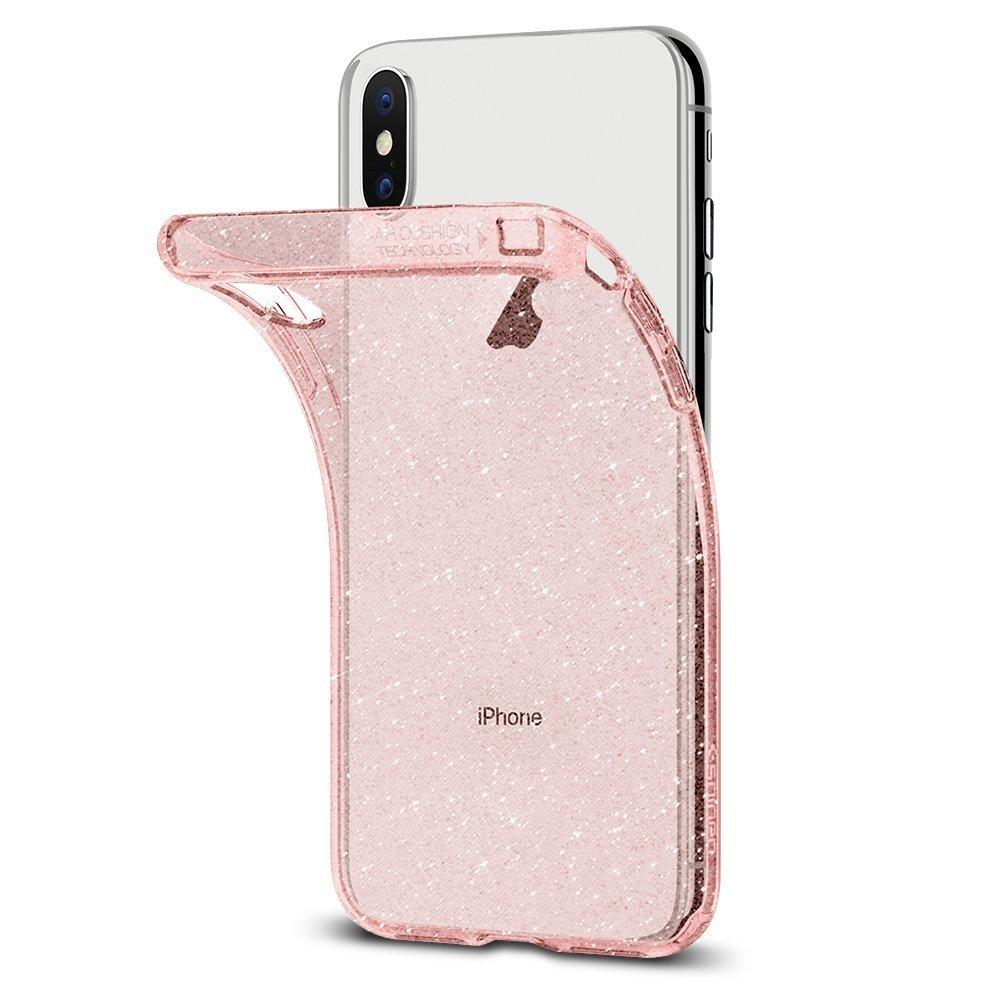 Apple iPhone X Spigen Liquid Crystal Glitter Case - Rose Quartz
