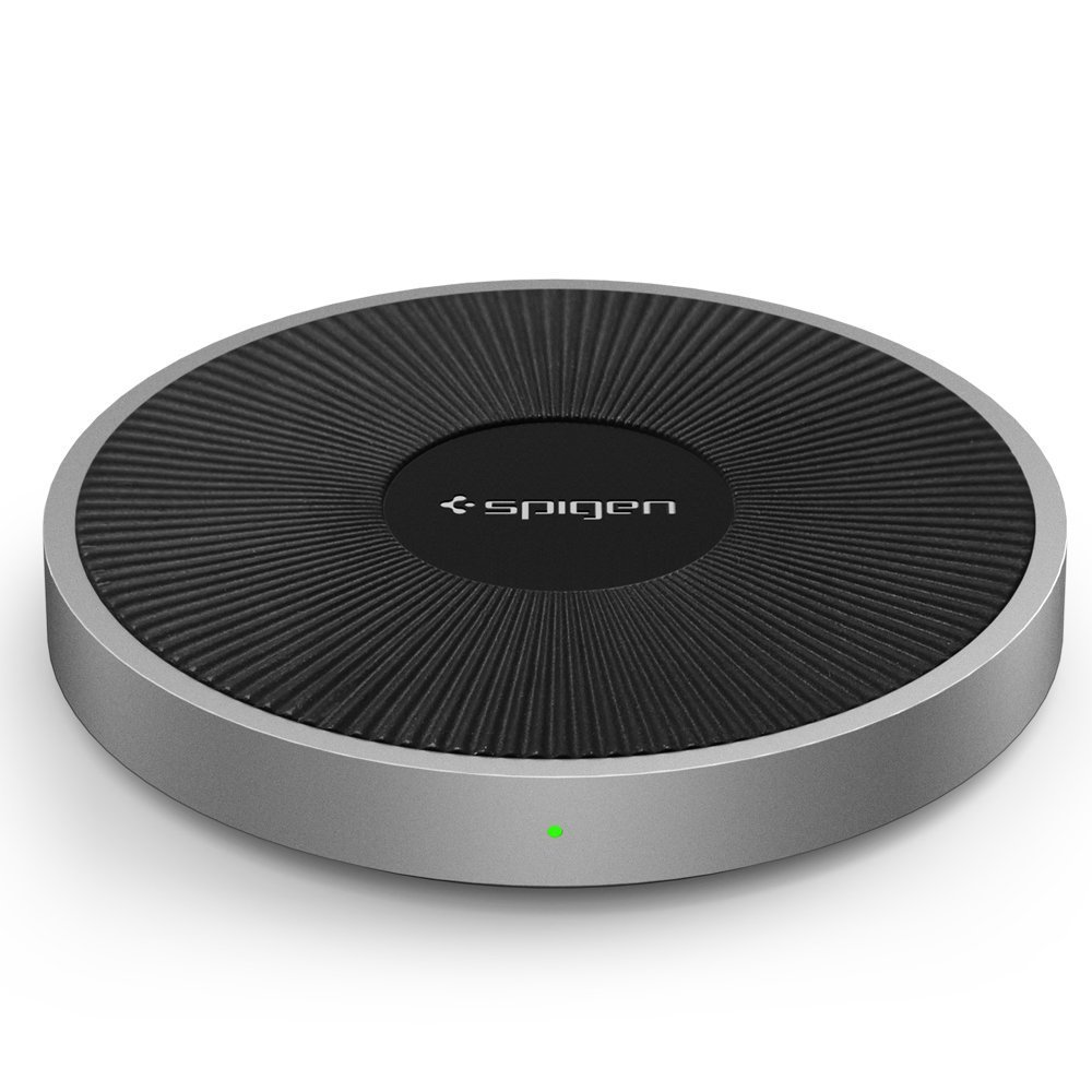 Spigen F306W Wireless Fast Charger (5W / 7.5W / 10W) for all Qi Certified Devices with QC 3.0 Charging Adapter - Black - EU Plug