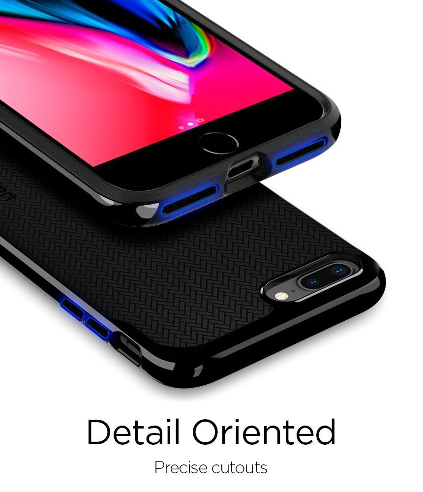 Apple iPhone 8 Plus / 7 Plus Original Spigen Case Neo Hybrid Herringbone - Shiny Black