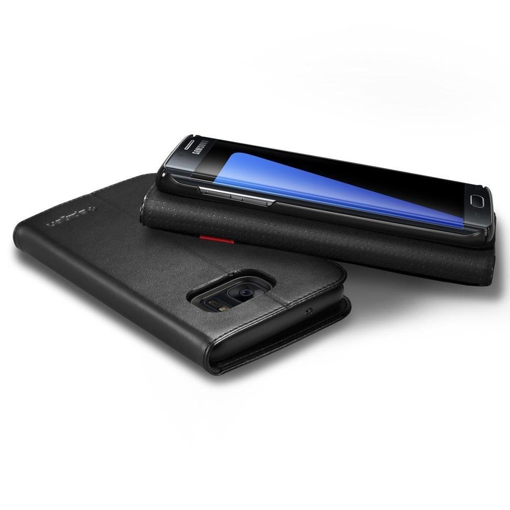 Samsung Galaxy S7 Edge Spigen Original Wallet S Flip Cover Case  - Black