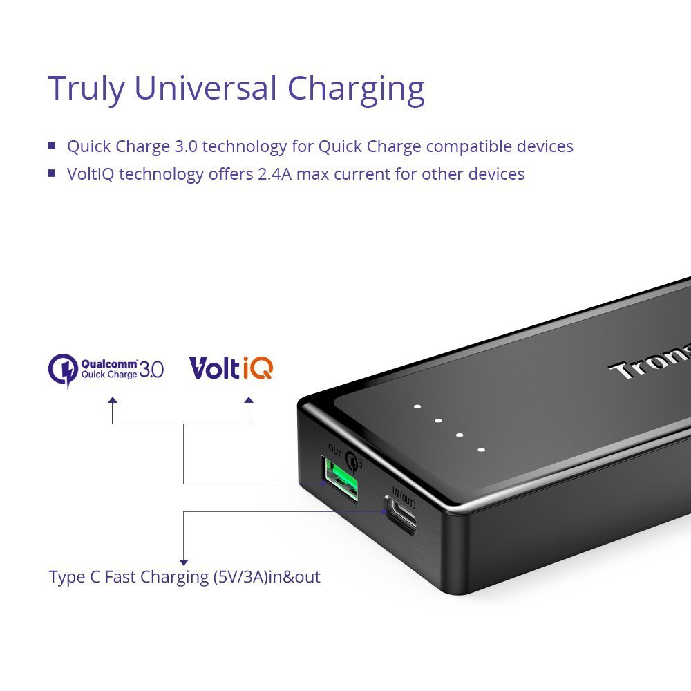 Tronsmart Presto PBT12 10400 mAh USB-C / Type-C External Battery/Portable Power Bank/Portable battery pack with Quick Charge 3.0 Technology
