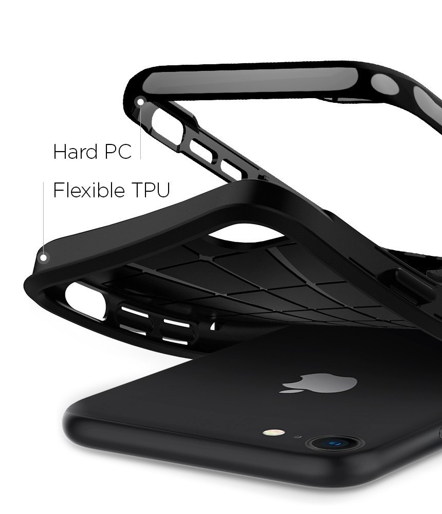 Apple iPhone 8 / 7 Original Spigen Case Neo Hybrid Herringbone - Shiny Black