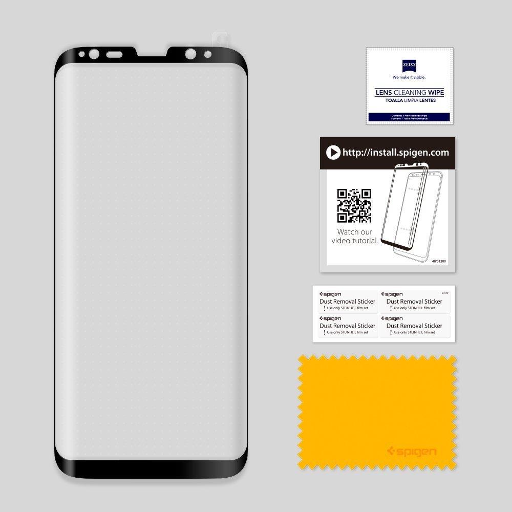 Galaxy S8 Plus Spigen GLASTr Slim Case Friendly Curved Tempered Glass