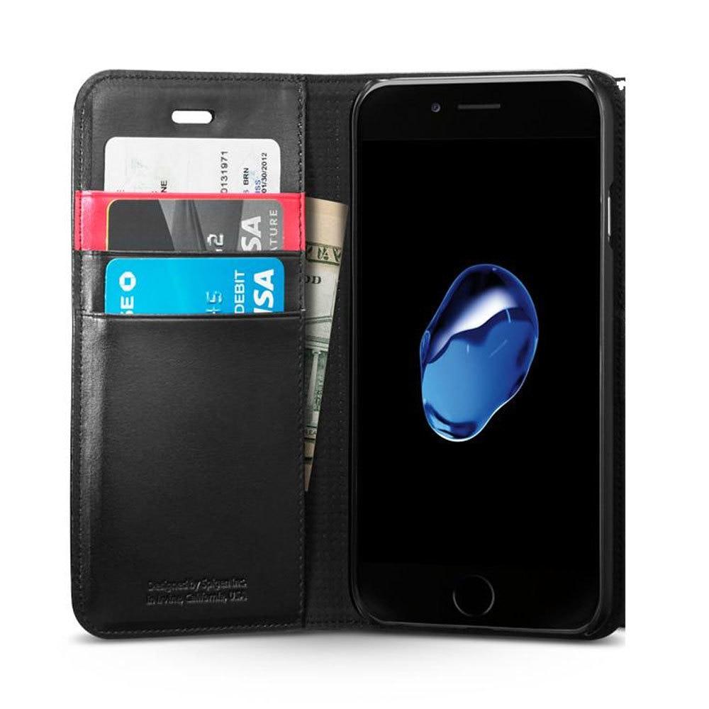 Apple iPhone 7 Plus Spigen Original Wallet S Flip Cover Case  - Black