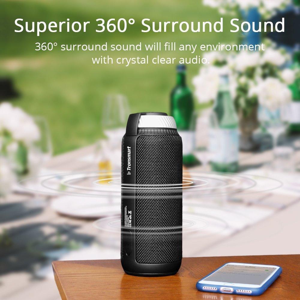 Tronsmart T6 Speaker 25 Watt Dual-Driver 15 Hours Playtime 360 Degree Surround Sound Portable Wireless Speaker with Deep Bass - Black