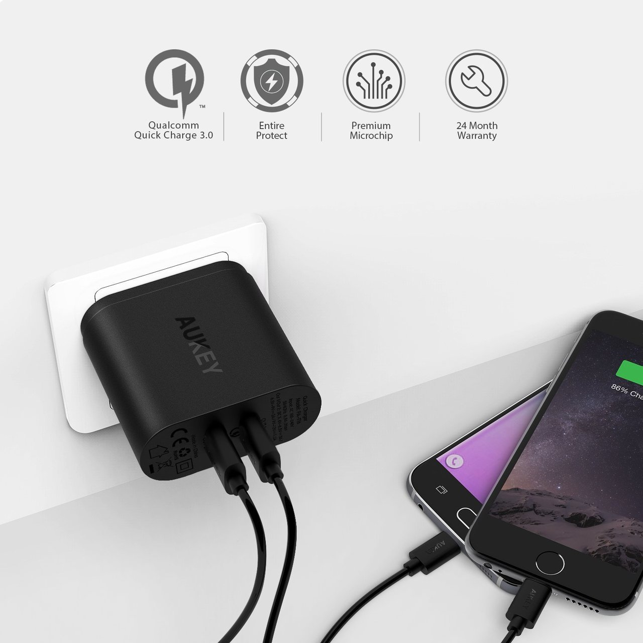 AUKEY 2-Port 36W Wall Charger with QC 3.0 - Black - PA-T16