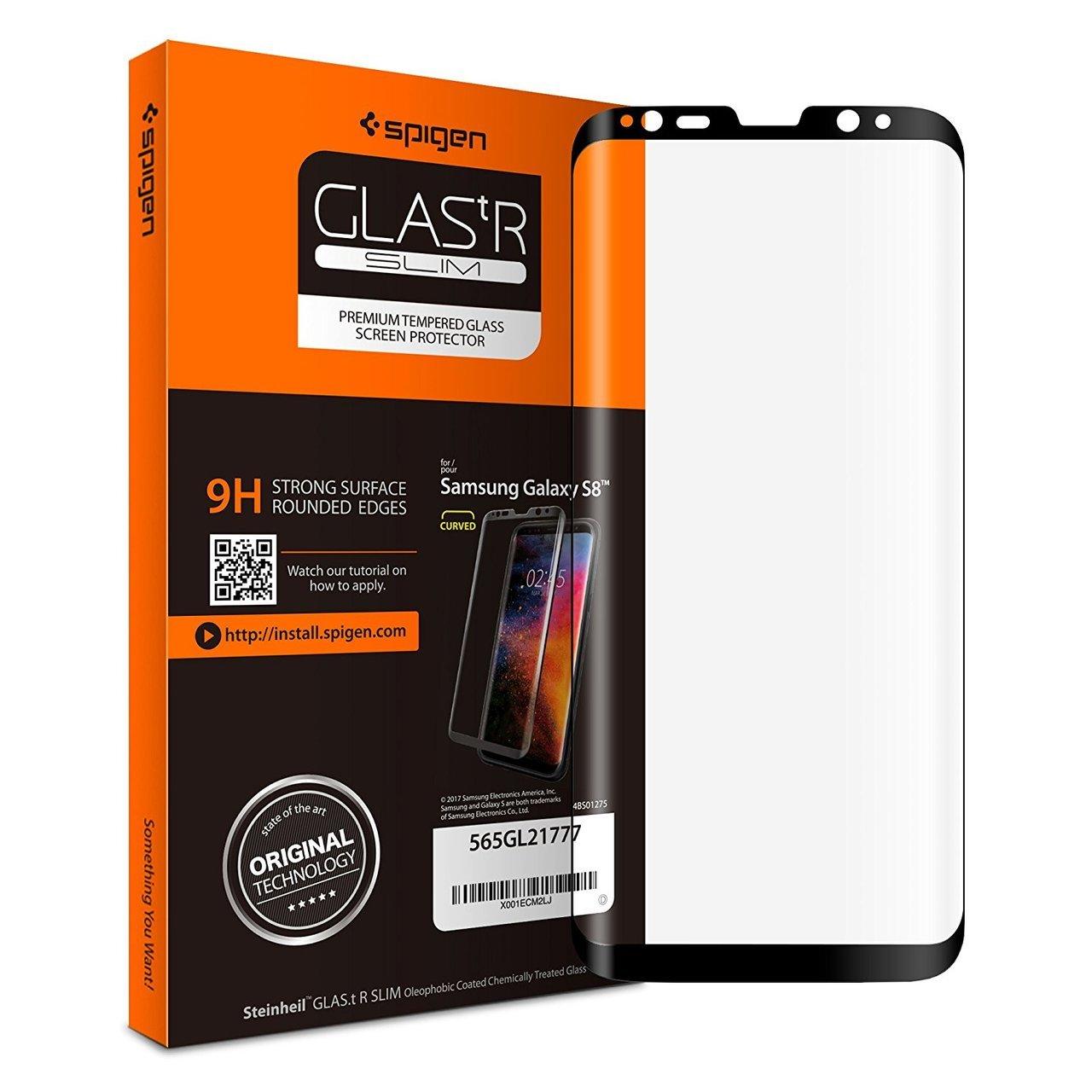 Galaxy S8 Spigen GLASTr Slim Case Friendly Curved Tempered Glass