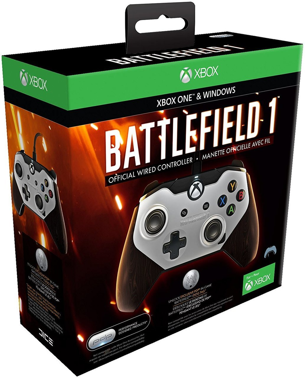 Battlefield 1 Official Wired Controller For Xbox One & Windows Brown  - PDP