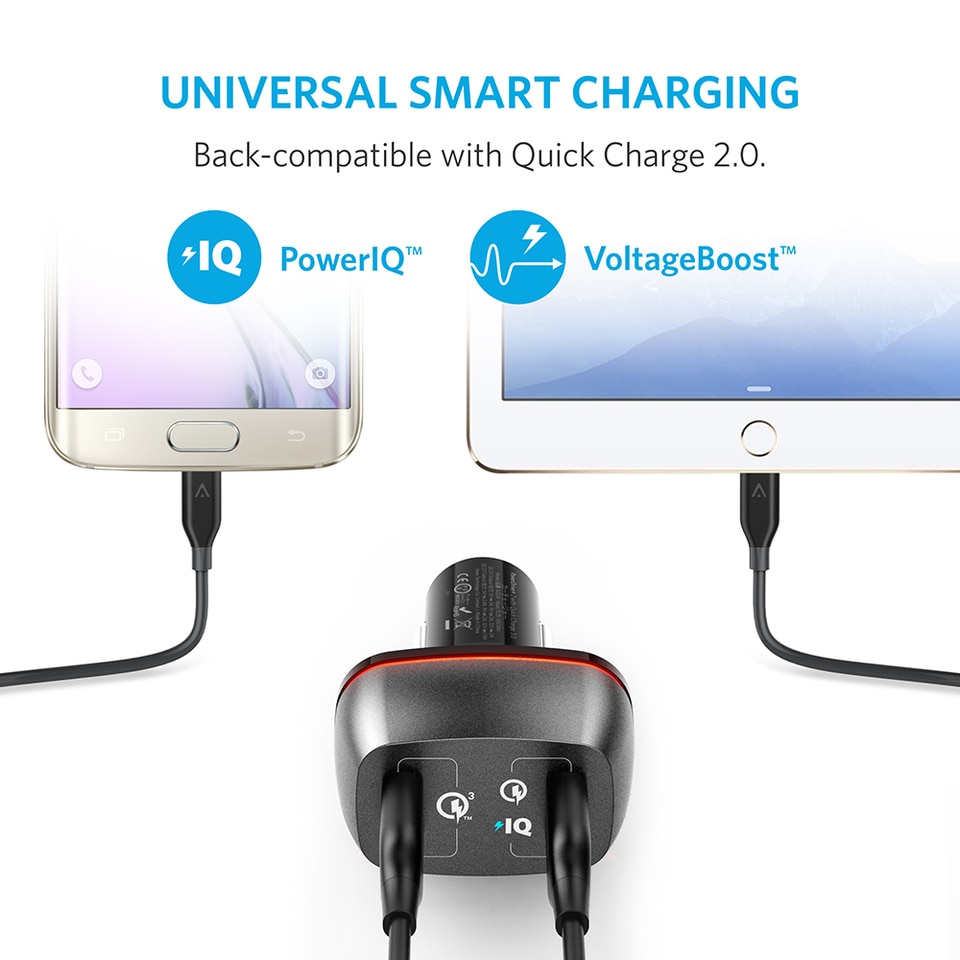 Anker PowerDrive + 2  Car Charger with Quick Charge 3.0 - Black (A2224H12)