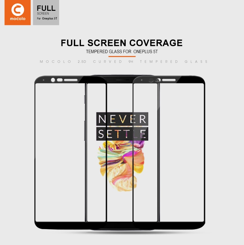 Mocolo OnePlus 5T 3D Edge to Edge Tempered Glass - Black
