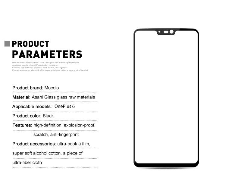 Mocolo OnePlus 6 3D Edge to Edge Tempered Glass - Black