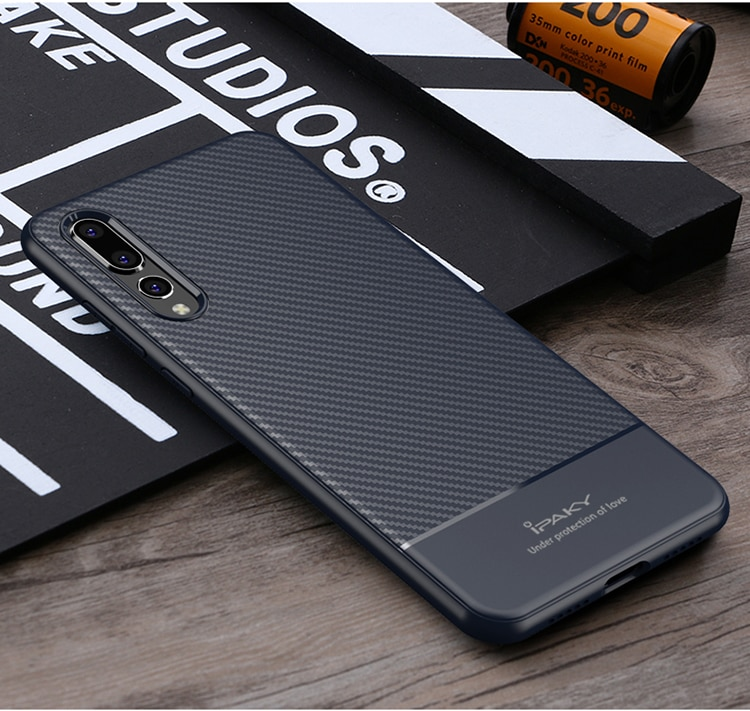 Huawei P20 Lite Carbon Fiber Design Soft Case by iPaky - Blue