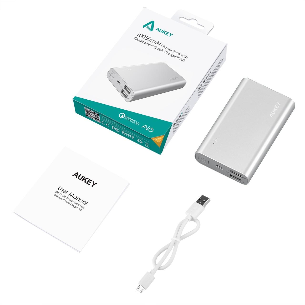 AUKEY 10050 mAh Quick Charging 3.0 Powerbank - PB-AT10 - Silver