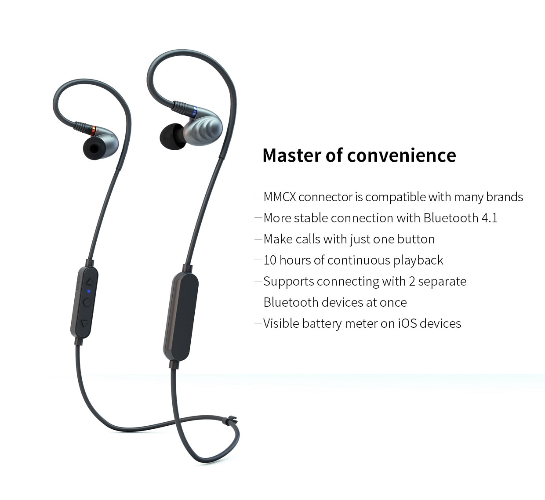 Fiio RC-BT AptX Bluetooth MMCX HiFi Earphone Cable with Wire Control & Mic