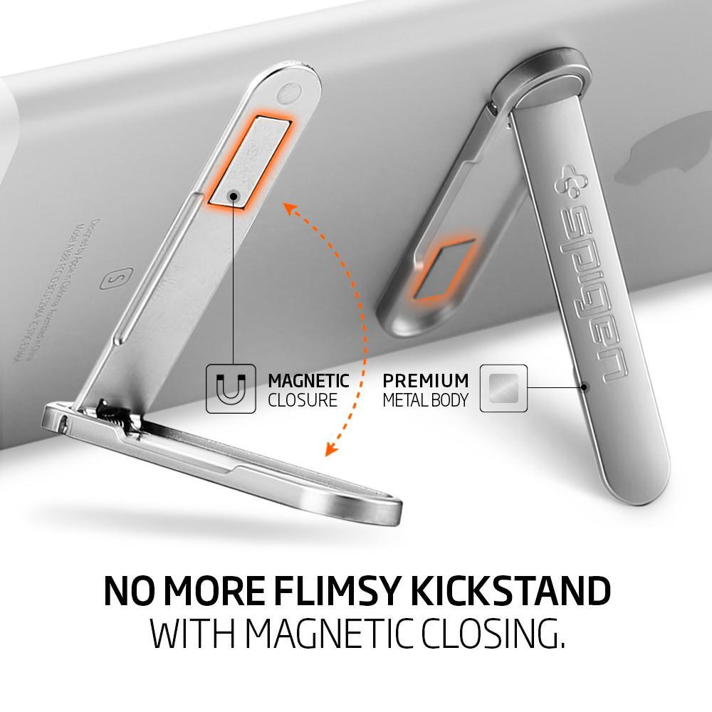 Spigen U100 Kickstand with Magnetic Clasp for every Phone - Silver