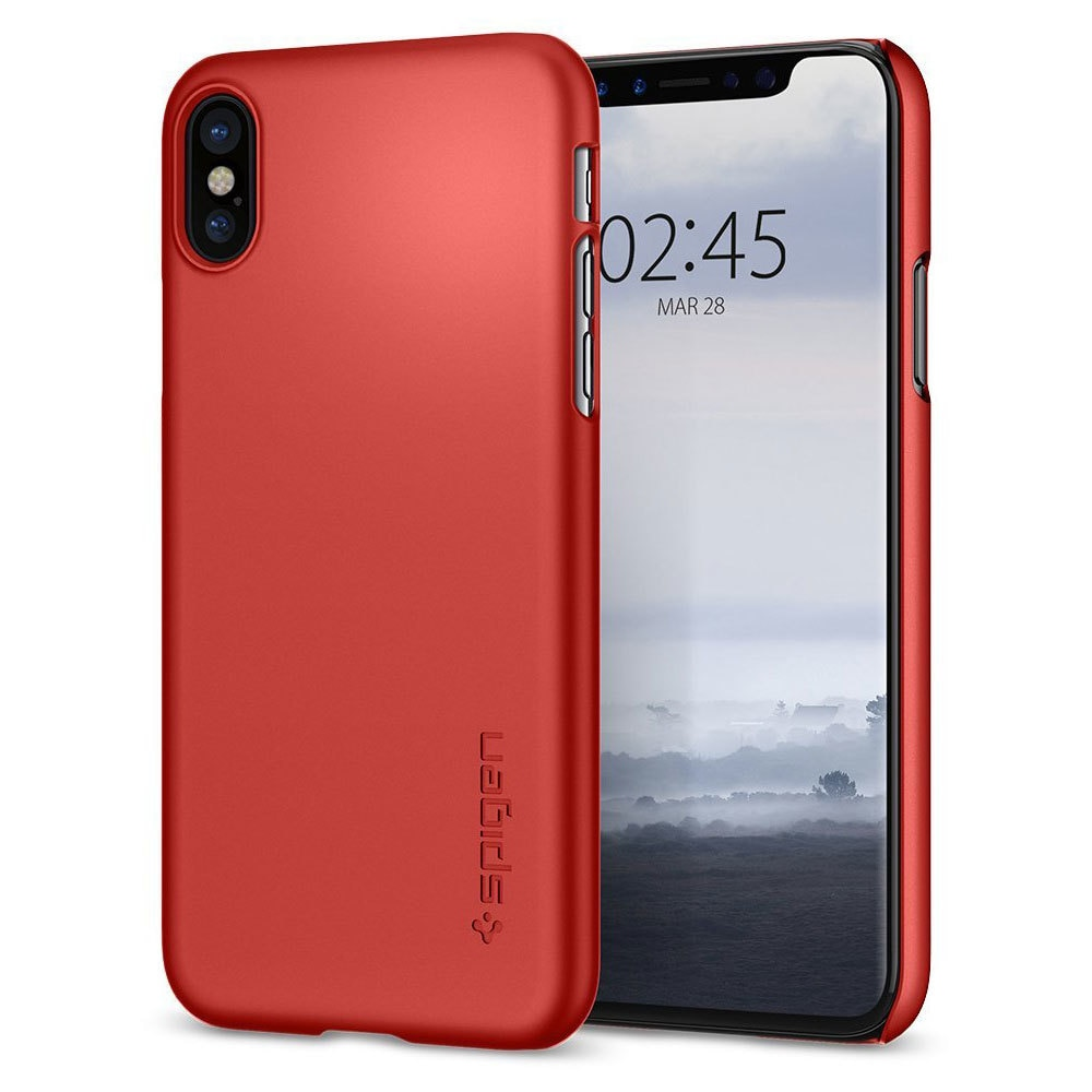 Apple iPhone X Spigen Original Thin Fit - Metallic Red