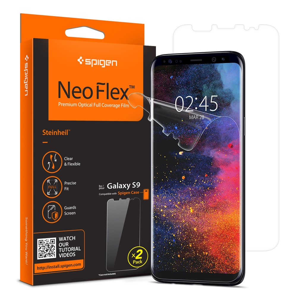 Galaxy S9 Spigen Neo Flex Case Friendly Screen Protector - 2 PACK