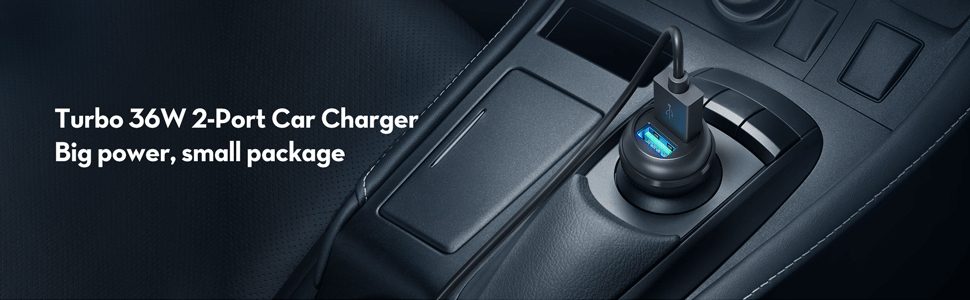 2 port turbo car charger 36w