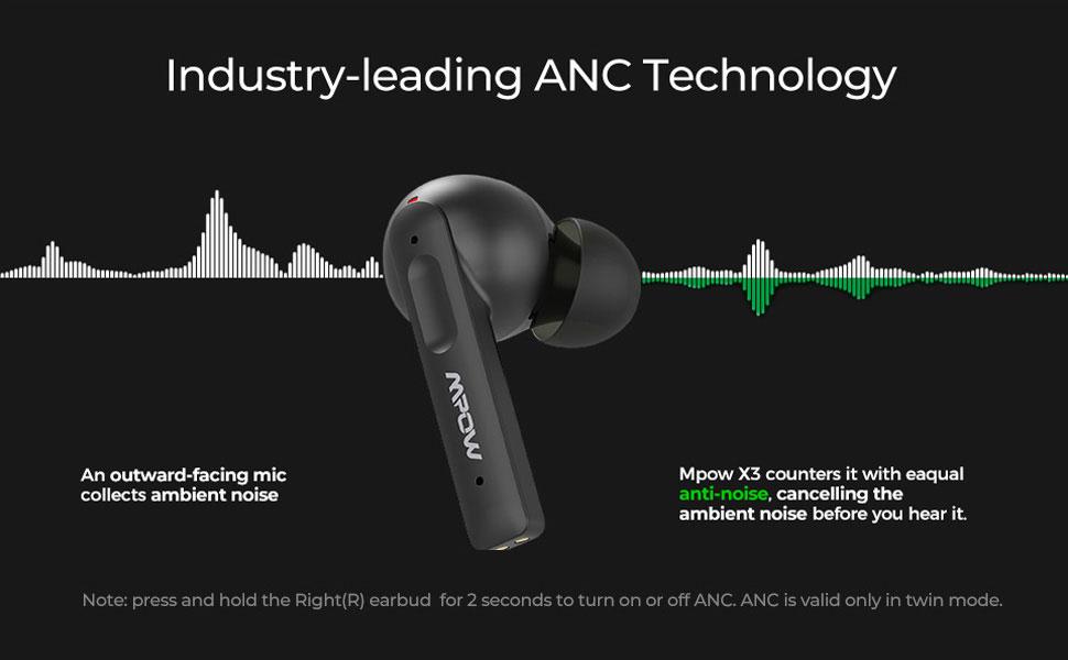 MPOW X3 Hybrid Active Noise Cancellation Earbuds Pakistan BrandTech.pk